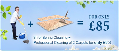 3h of Spring Cleaning + Professional Cleaning of 2 Carpets for only £85!