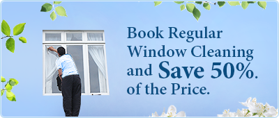 Book window cleaning services on weekly or fortnighlty basis and save 50% of the price.
